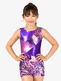 Perfect Balance - Girls Gymnastics Animal Print Tank Shorty Unitard
