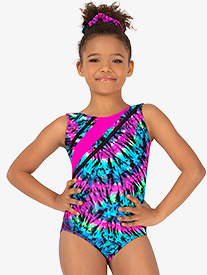 Perfect Balance - Girls Gymnastics Neon Tie-Dye Strappy Tank Leotard