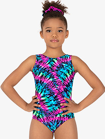 Perfect Balance - Girls Gymnastics Neon Tie-Dye Tank Leotard