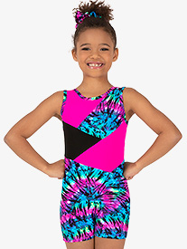 Perfect Balance - Girls Gymnastics Neon Tie-Dye Tank Shorty Unitard