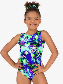 Perfect Balance - Girls Gymnastics Lime Green Splatter Tank Leotard