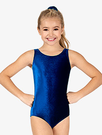 Leo - Girls Gymnastics Velvet Tank Leotard