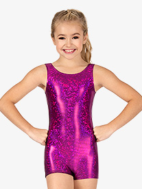 Leo - Girls Gymnastics ''Disco'' Foil Tank Shorty Unitard