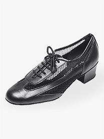 """Go Go - Womens 1.5"""" Heel Black Net Practice Ballroom Shoes"""