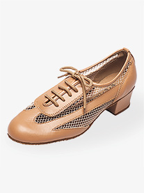 "Go Go - Womens 1.5"" Heel Tan Net Practice Ballroom Shoes"