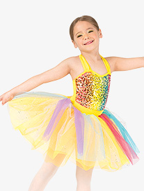 Gracie - Girls Rainbow Sequin Halter Dance Costume Dress Set