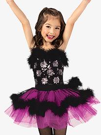 Gracie - Girls Performance Faux Fur Trim Camisole Tutu Dress