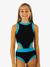Hailey Dancewear - Girls Black and Blue Side Cutout Tank Leotard