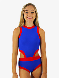 Hailey Dancewear - Girls Blue and Red Side Cutout Tank Leotard