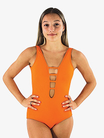 Hailey Dancewear - Womens Mandarin Orange Strappy Front Tank Leotard