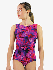 "Hailey Dancewear - Womens ""Blossom"" Print Boat Neck Tank Leotard"