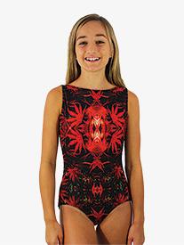 "Hailey Dancewear - Girls ""Mystic Garden"" Print Boat Neck Tank Leotard"