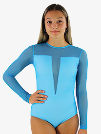 Hailey Dancewear - Girls/Womens Sheer Mesh Long Sleeve Leotard