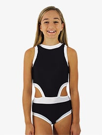 Hailey Dancewear - Girls Black and White Side Cutout Tank Leotard