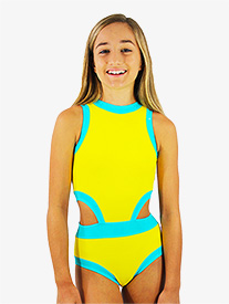 Hailey Dancewear - Girls Yellow and Blue Side Cutout Tank Leotard