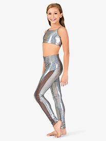 Ingenue - Girls Iridescent Side Mesh Performance Leggings