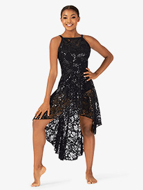 Ingenue - Womens Performance Sequin Lace Camisole Dress