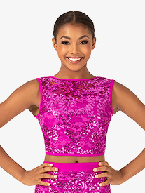 Ingenue - Womens Performance Sequin Lace Tank Crop Top