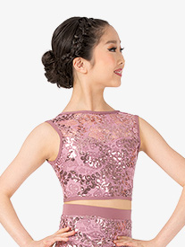 Ingenue - Girls Performance Sequin Lace Tank Crop Top