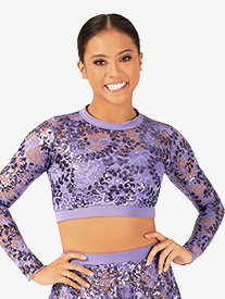 Ingenue - Womens Performance Sequin Lace Long Sleeve Crop Top