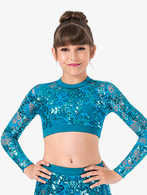 Ingenue - Girls Performance Sequin Lace Long Sleeve Crop Top
