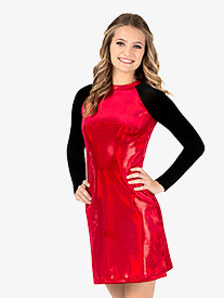 Ingenue - Womens Team Velvet Foil Long Sleeve Dress