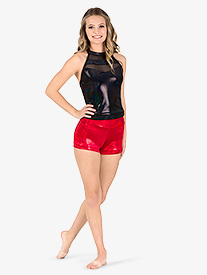 Ingenue - Womens Team Velvet Foil High Waist Shorts