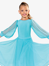 Dance America - Girls Mesh Puff Long Sleeve Ballroom Leotard
