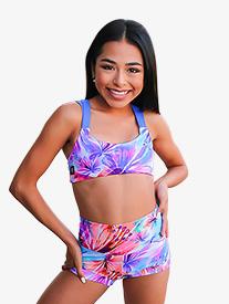 Kandi Kouture - Girls Tropical Print Banded Dance Shorts
