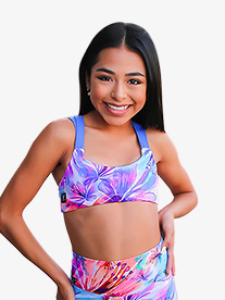 Kandi Kouture - Girls Tropical Print Dual Tank Dance Crop Top