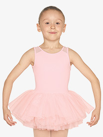 Mirella - Girls Heart Mesh Insert Tank Ballet Tutu Dress