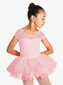 Mirella - Girls Polka Dot Mesh Short Sleeve Tutu Dress