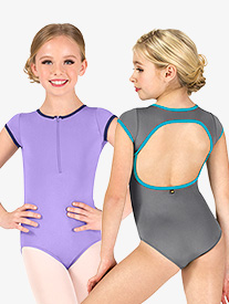"Mariia - Girls ""Lily"" Zip Front Short Sleeve Leotard"