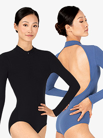 M by Mariia - Womens Sueded Cotton Mock Neck Long Sleeve Leotard