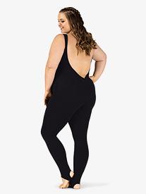 M by Mariia - Womens Plus Size Sueded Cotton Deep V-Back Stirrup Dance Unitard