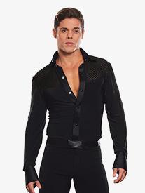 Dance America - Mens Collared Stripe Insert Ballroom Dance Bodysuit