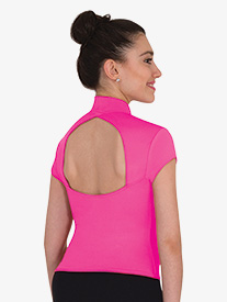 Body Wrappers - Womens Mock Neck Cap Sleeve Dance Top