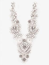 Double Platinum - Iron On V-Neck Rhinestone Applique