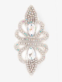 Double Platinum - Iron On Iridescent Rhinestone Applique