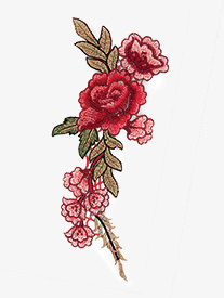 Double Platinum - Sew On Embroidered Rose Applique