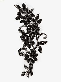 Double Platinum - Iron On Black Rhinestone Floral Applique