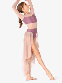 Double Platinum - Girls Long Sleeve High-Low Dance Performance Dress