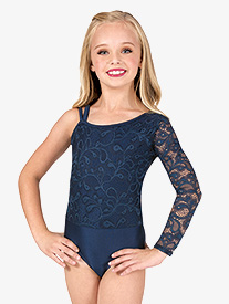 Double Platinum - Girls Asymmetrical Lace Long Sleeve Leotard
