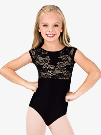 Double Platinum - Child Cap Sleeve Pinched Back Lace Leotard