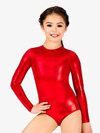 Double Platinum - Girls Metallic Long Sleeve Leotard