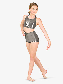 Double Platinum - Womens Metallic High Waist Dance Shorts