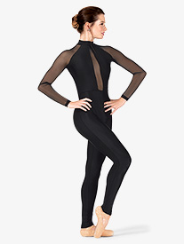 Double Platinum - Womens Performance Plunging Mesh Long Sleeve Unitard