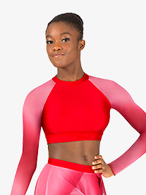 Double Platinum - Womens Performance Ombre Mesh Long Sleeve Crop Top