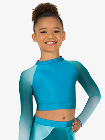 Double Platinum - Girls Performance Ombre Mesh Long Sleeve Crop Top