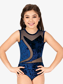 Double Platinum - Girls Performance Crushed Velvet Tank Leotard
